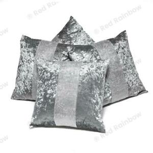 Set of 4 Silver & Grey Diamante Sparkle Crushed Velvet 18 inch Cushion Covers