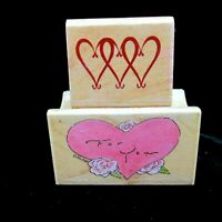 Lot 2 Rubber Stamps by All Night Media Heart Designs For You 887D Hearts 480C01