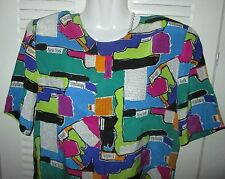Spencer Jeremy Silk Travel Newspaper Editor City PRINT Blouse Top COLOR BLOCK 4