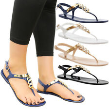 Ladies Womens Beach Summer Diamante Sliders Jelly Flip Flop Sandals Shoes Size