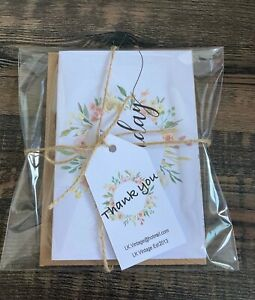 Pack 4 Handmade Floral Birthday Cards & Envelopes Happy Birthday/Best Wishes