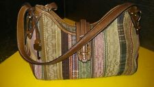 Fossil Multi Color Canvas Handbag w/ Leather Strap and accents Pink Green Brown