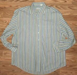Men's Van Heusen multicolor striped collared button-down dress shirt large