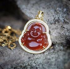 Hip Hop Green Jade Red Agate Buddha Pendant Necklace