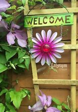Metal Garden Flower Welcome Hanging Sign Pink Summer Wall Fence Decorations