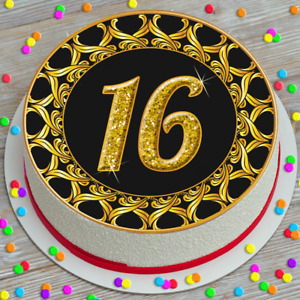 EDIBLE ICING CAKE TOPPER 7.5 INCH GOLD BLACK BORDER 16TH BIRTHDAY AGE 16 KC8216A