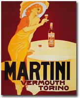 Paper Print Poster  Vintage Art Deco Martini Vermouth  painting Canvas Framed