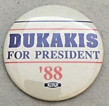 1988 Mike Dukakis for President Pinback Pin Button Badge