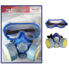 Respirator Dust Face Mask & Goggles Protect 2pc Dual Cartridge Industrial Safety