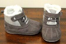 Stride Rite Gray Boots sz 6-12 Months Baby Boys Shoes Faux Fur Suede Surprize