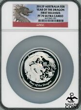 2012-P Australia $8 Dragon 5 oz .999 Silver First Releases NGC PF70 Ultra Cameo
