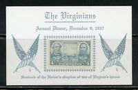 UNITED STATES THE TWO VIRGINIANS SOUVENIR CARD DECEMBER 9, 1937  AS ISSUED