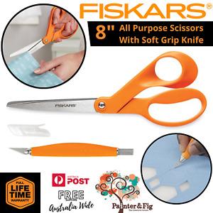 "Fiskars 8"" Scissors & Soft Grip Craft Knife, Ergonomic, Stainless Steel"