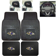 7pc NFL Baltimore Ravens Heavy Duty Rubber Floor Mats & Steering Wheel Cover