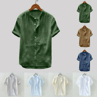 Men Summer Loose Casual Solid Short Sleeve Button T-Shirt Tops Blouse Basic Tee