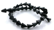 10.5mm x 10mm Faceted Cone Natural Black Onyx Gem Beads 15 Inch Strand BSO49