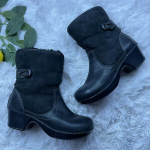 Dansko Stormy Black Leather Shearling Fur Lined Boots Clogs EUR 41