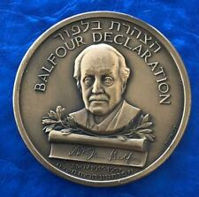 "Israel State Medal ""Balfour Declaration Jubilee"" 1967 Bronze 59mm Coin UNC"