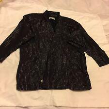 Womens Nafta Line Black Silver Vintage Cotton Woollen Blazer Jacket Size 38
