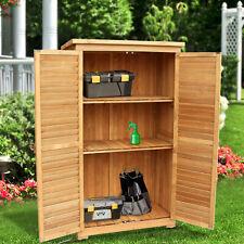 """63"""" Tall Garden Storage Shed Wooden Tools Shutter Fir Wood Lockers Natural 0870"""