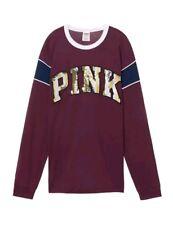 Victoria secret pink large ringer long Sleeve Bling T Shirt maroon