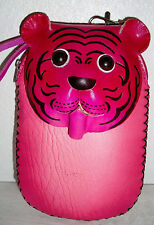 "Keychain Coin-Purse /Wristlet/ Phone Holder 3D Lion Face Leather- 2""X6""X5"" NEW"