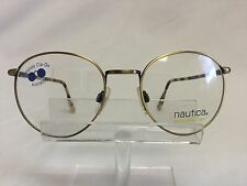 Vintage Nautica Eyeglasses Round Antique Gold Retro Metal Frame Spring Hinges