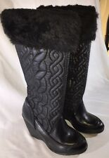 NIB Women's Report Lindsey Black Wedge Pull On Boots Knee High Faux Fur Size 9