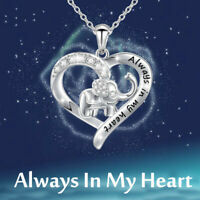 """Always In My Heart"" Silver Elephant Zircon Necklace Pendant Gift Jewelry Hot"