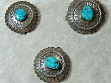Vintage Sterling Silver Turquoise Concho's Lot of Three 62 grams  NEZ Signature
