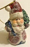 Santa Claus Christmas Ornament ALL Glitter Present And Christmas Tree