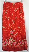Details Women's Size Large Long Modest Maxi Skirt Red Floral