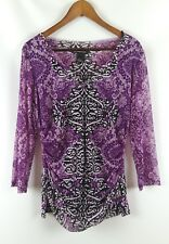 INC International Concepts Sheer Floral Print Top Ruched Sides Women's Sz XL