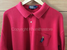 Polo Ralph Lauren Bear Long Sleeve Polo Shirt**NICE/RED/Size XXL**