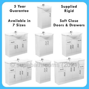 Bathroom Vanity Unit Classic Cloakroom Gloss White Basin Storage Various Sizes