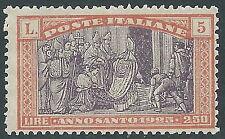 1924 REGNO ANNO SANTO 5 LIRE MNH ** - Y160