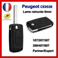 Coque Clé Pour Peugeot 107 207 307 308 SW Partner 2 boutons CE0536 Lame Rainurée