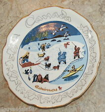 VINTAGE 1964 Collector Plate CANADA ESKIMOS 22K Gold Trim DOG SLED Kayak SEAL