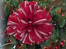 Elegant Heirloom Bow Christmas Tree Topper Deep Red/Gold Metallic
