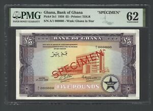 Ghana 5 Pounds  01-07-1958 P3s1 Specimen Uncirculated Grade 62
