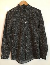 MENS H&M SLIM FIT BLACK FLORAL LONG SLEEVED SHIRT SIZE SMALL