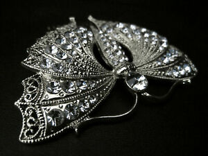 ANTIQUE VINTAGE DESIGN SILVER CRYSTAL BUTTERFLY HAIR COMB - BRIDAL EVENING DRESS