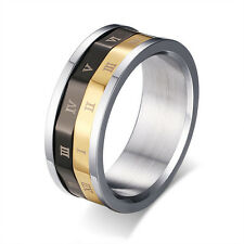 Black&Gold Roman Numeral Dual Spinner Ring Men Stainless Steel Band Size 7-11
