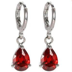 Women'S Tear Shape Silver Red Cublic Zircon Crystal Stud Hoop Earrings