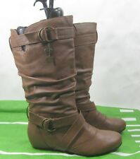 "Womens Tan 1.5"" Low Hidden Wedge Sexy Mid-Calf Boot Size 10"