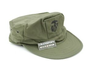 USMC SATEEN UTILITY CAP 2 PLY WITHOUT TOP STITCH WITH EGA OLD STYLE