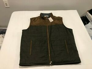 NWT $648.00 Peter Millar Mens Crown Mountainside Suede / Wool Vest Green Size XL