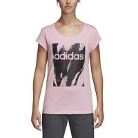 Adidas Women Tshirt Lifestyle Essential Printed Training Tee Gym Fashion DU0637