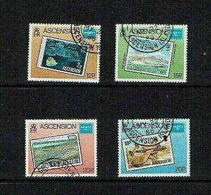 Ascension Is: 1986, Ameripex, Stamp Exhibition, Stamp on Stamp,  FU, set