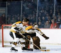 NHL 1970's Bobby Orr & Gerry Cheevers Game Action Color  8 X 10 Picture Photo